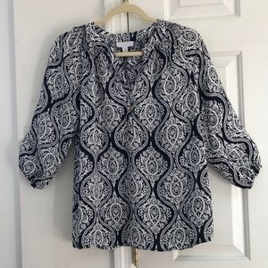 Charter Club ladies navy blue & white blouse